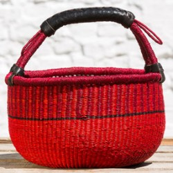 Strikkekurv Ø28 cm rød
