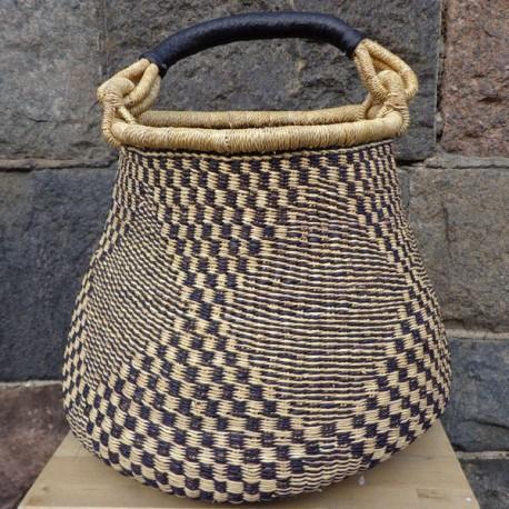 Strikkekurv Pot Basket Ø27 cm natur/sort