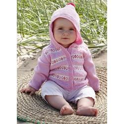 Baby Merino Cardigan med hue - sælges kun sammen med garn